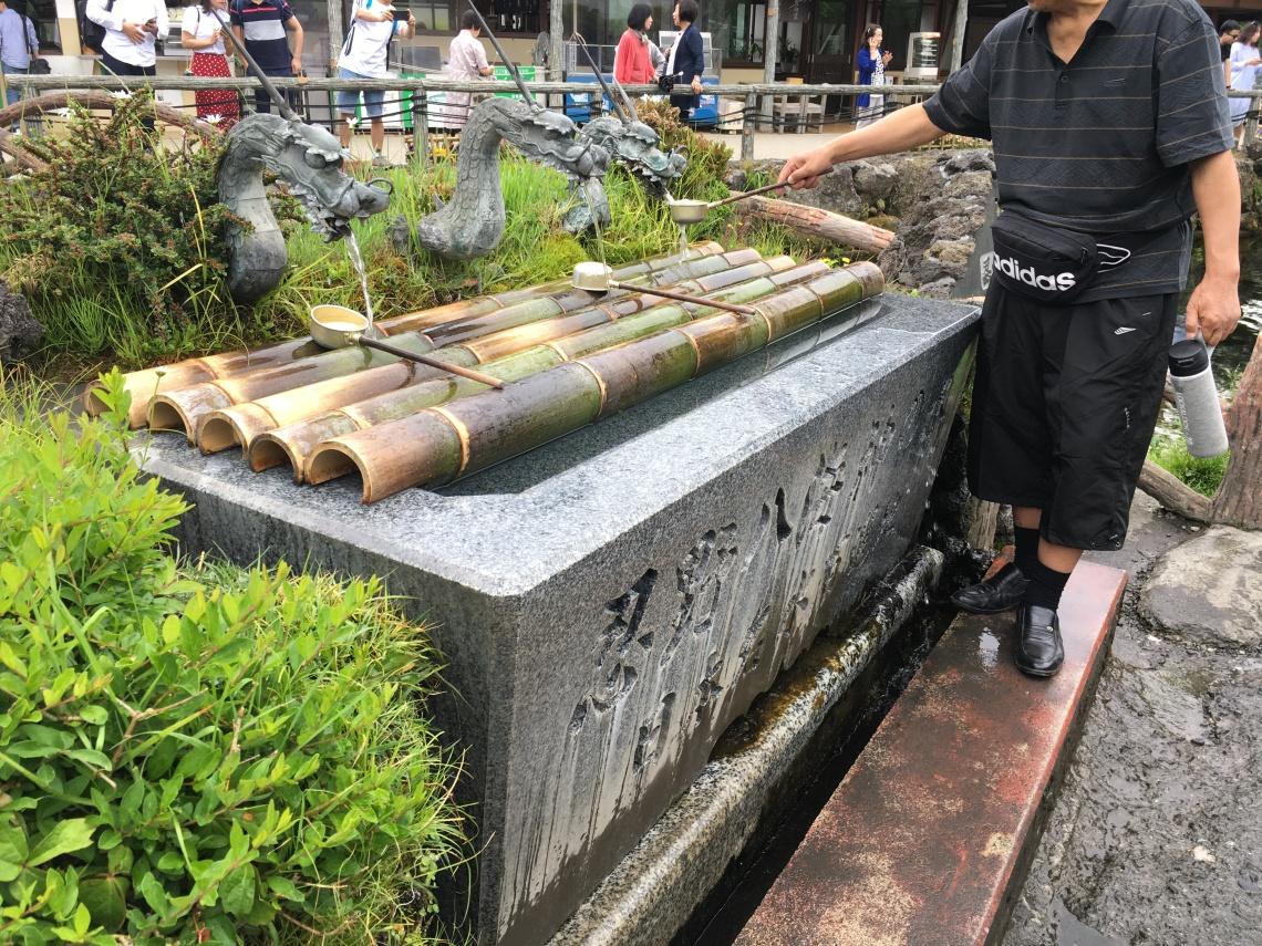 Small town at Mount Fuji Japan water fountain
