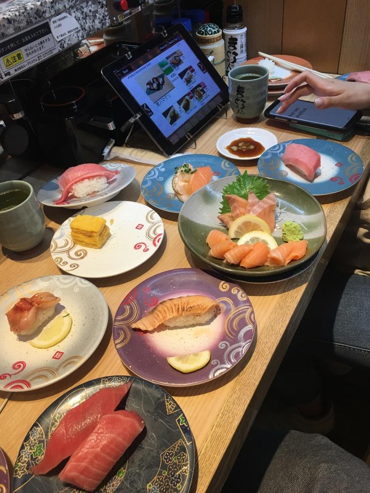 Conveyer belt sushi at Yodobashi Akiba